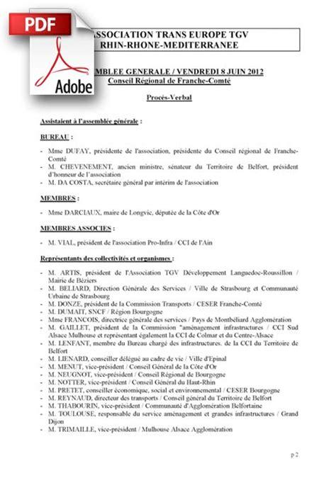 proc鑚 verbal association changement bureau proces verbal de l assembl 233 e generale du 8 juin 2012