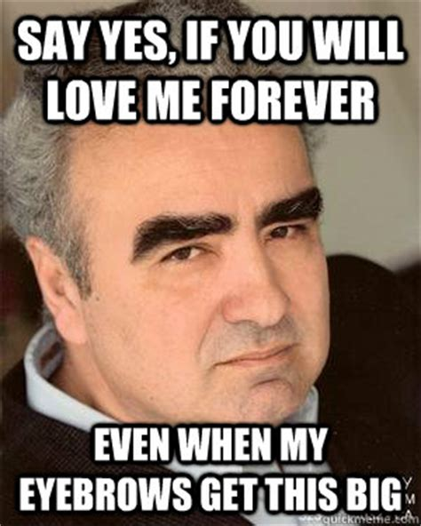 Eyebrows Meme Internet - say yes if you will love me forever even when my eyebrows