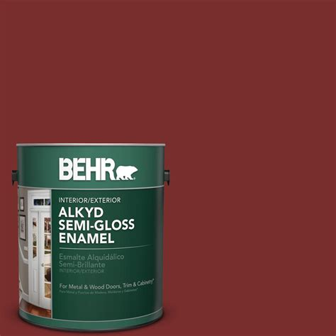 gloss paint behr 1 gal ppu2 2 red pepper semi gloss enamel alkyd