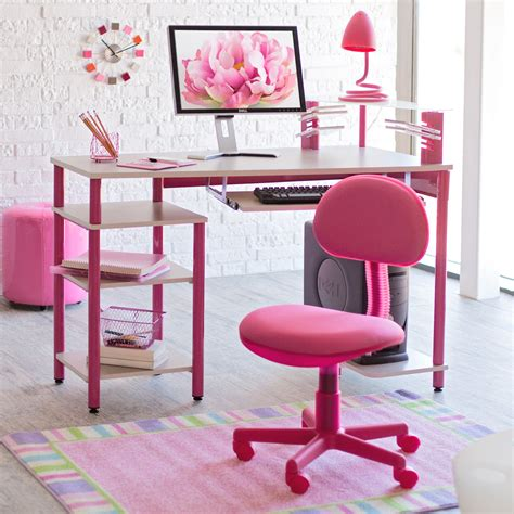 Pink Corner Computer Desk Zap Computer Desk And Chair In Pink At Hayneedle