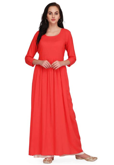 plain rayon maxi dress  coral red tpw