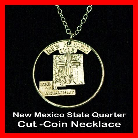 New Mexico The 47th State by New Mexico Zia Sun 25 162 Nm Quarter Cut Coin Pendant