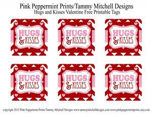 Freebie hugs and kisses valentine free printable tag card pink
