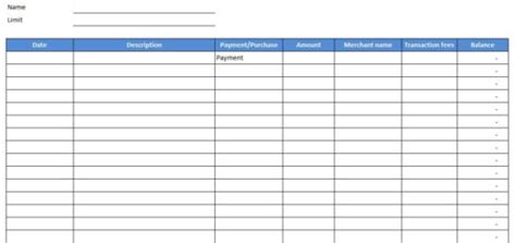 Credit Card Purchase Log Template by Free Excel Templates And Spreadsheets Browse And