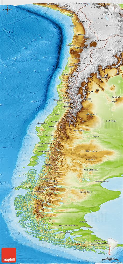physical map of chile chile geographischen karte