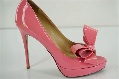 pink patent high heels valentino pumps valentino pink patent bow peep toe pumps