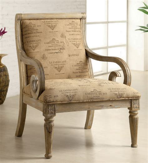 Script Armchair by Furniture Of America Fran Script Fabric Whitewash Solid Wood Accent Chair