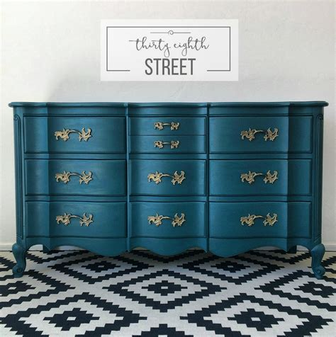 painted peacock blue dresser makeover thirty eighth