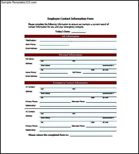 employee contact list template sle templates