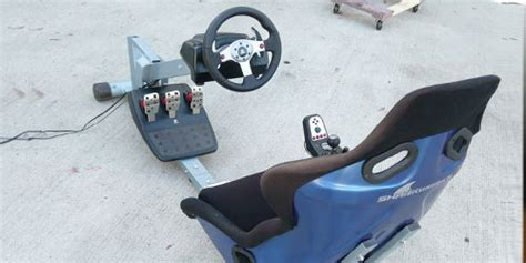 Homemade racing game cockpit fabrication project ghetto playseat