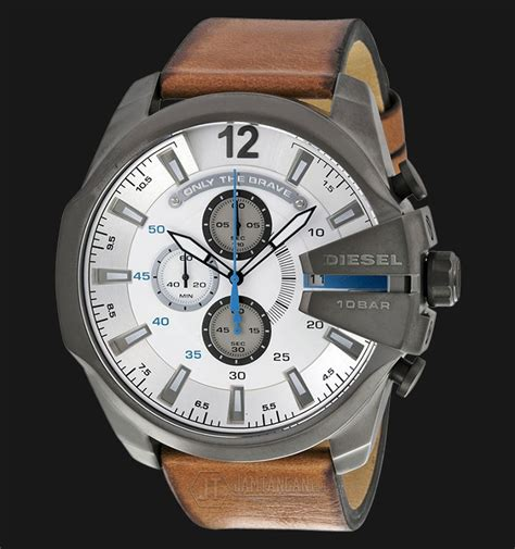 Jam Tangan Diesel Brown Leather diesel dz4280 mega chief white brown leather