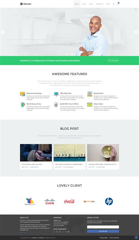 templates bootstrap frontend clearnizr responsive frontend admin html template theme