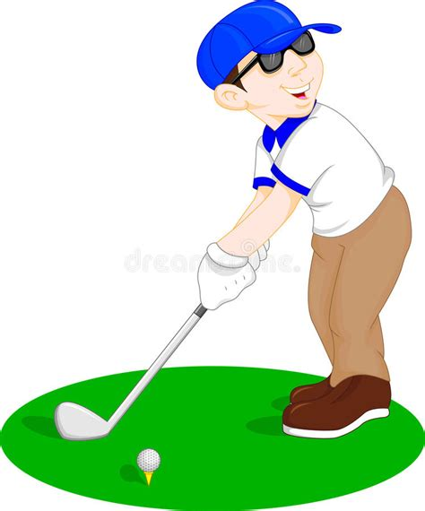 dibujos de niños jugando golf boy cartoon golf player stock vector illustration of