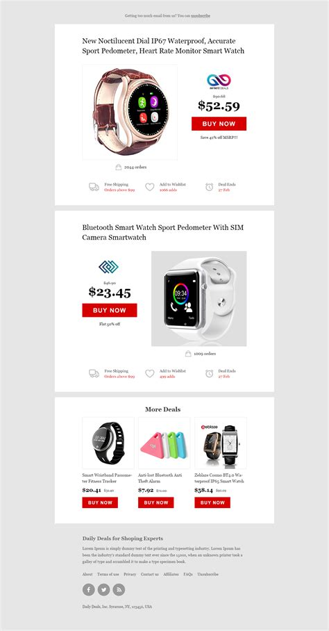 Daily Deals Ecommerce Website Newsletter Psd Html Free Html5 Templates Daily Deals Website Template