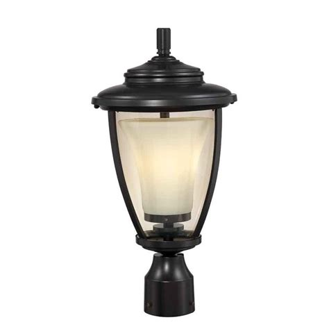 home depot post lights hton bay stockholm 1 light outdoor satin bronze post