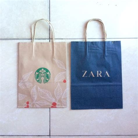 Zara Paperbag L paper bag zara starbucks serba serbi others di carousell