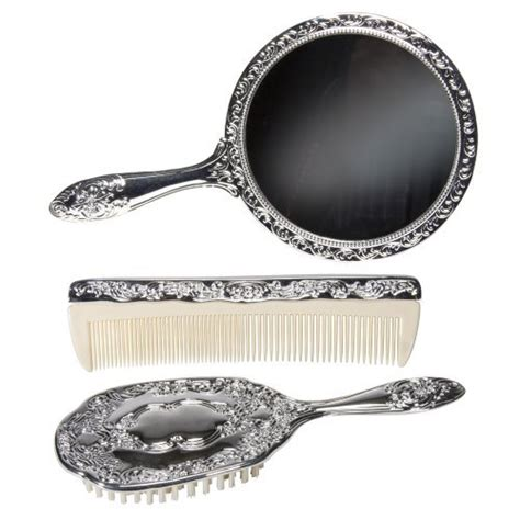 3 pc silver plated vanity brush comb mirror set new