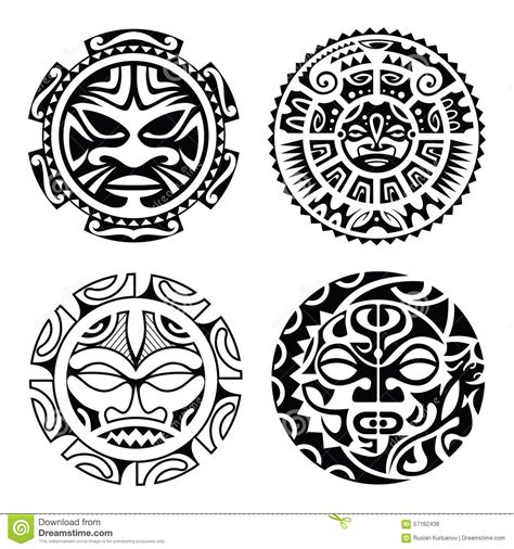 set of polynesian tattoo stock vector image 57182438