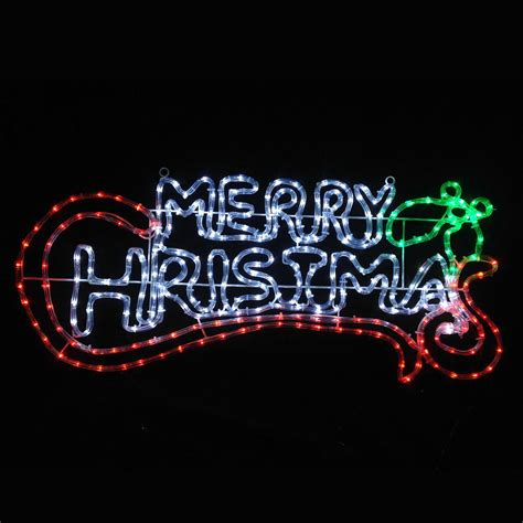 flashing red green white led merry christmas rope light sign