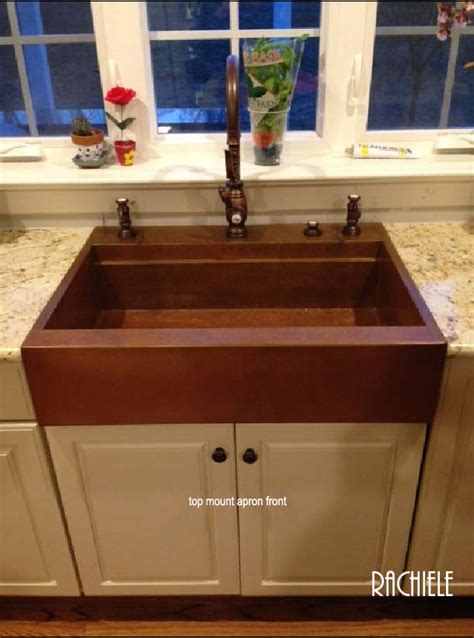 drop in farmhouse sink copper top mount drop in farmhouse workstation sink by