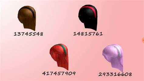 roblox code for long hair roblox highschool hair codes part 2 youtube