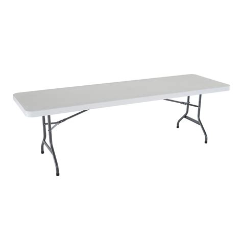 8 ft folding table lowes shop lifetime products 96 in x 30 in rectangle steel white