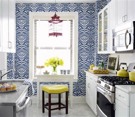 yellow kitchen wallpaper eclectic style kitchen with great cobalt blue and white