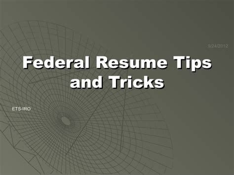 federal resumes and applications