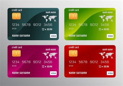 credit card templates realistic multicolored design free