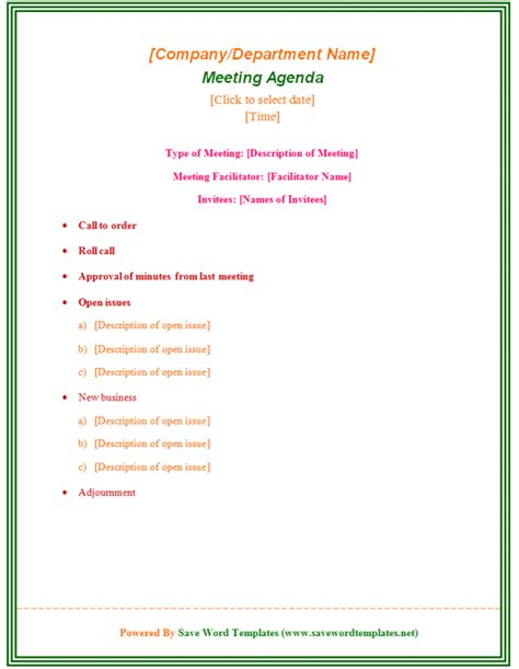 Formal Business Meeting Agenda Template Sample : Helloalive