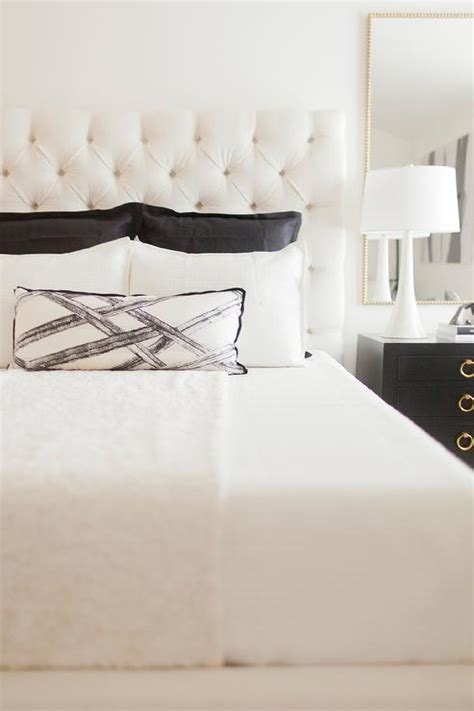 white and black headboard white tufted headboard with black nightstand