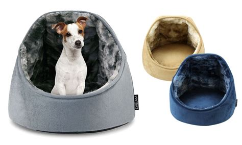 hooded bed micro mink plush hooded pet bed groupon goods