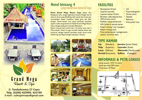 membuat brosur hotel grand mega resort