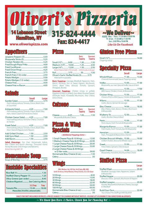 best pizza menu oliveri s pizzeria italian pizzeria the best pizzeria