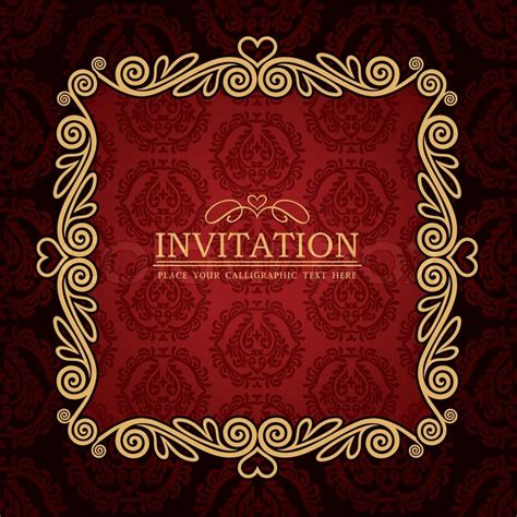 Modern With Vintage Home Decor by Abstract Background With Antique Vintage Frame Red Damask Wallpaper With Ornamental Gold