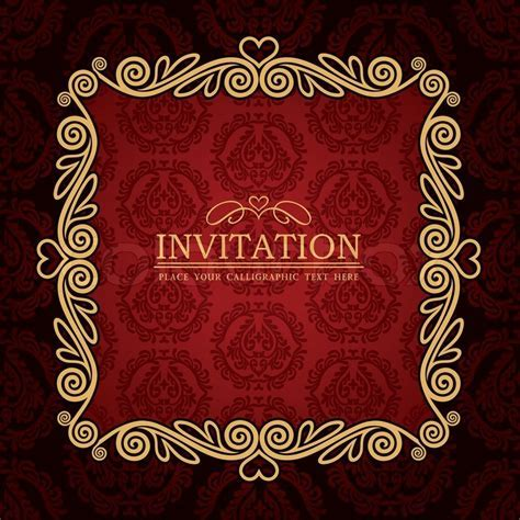 Abstract background with antique, vintage frame, red