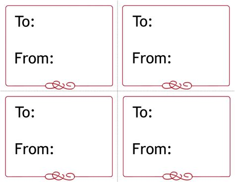 Free Printable Gift Tags Templates Computer Labels Template