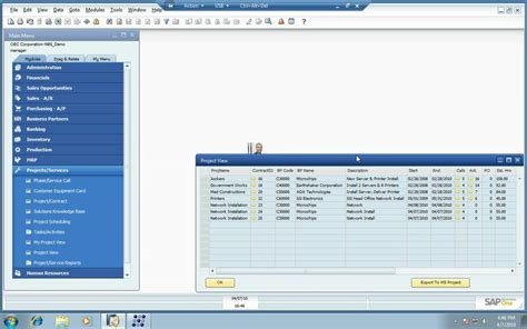 project management sap business one
