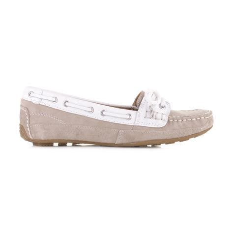 womens sebago bala taupe suede white moccasin deck boat