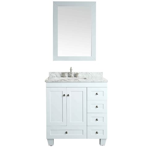 Bathroom Vanity Counter Eviva Acclaim C 30 Quot Transitional White Bathroom Vanity With White Marble Counter Top