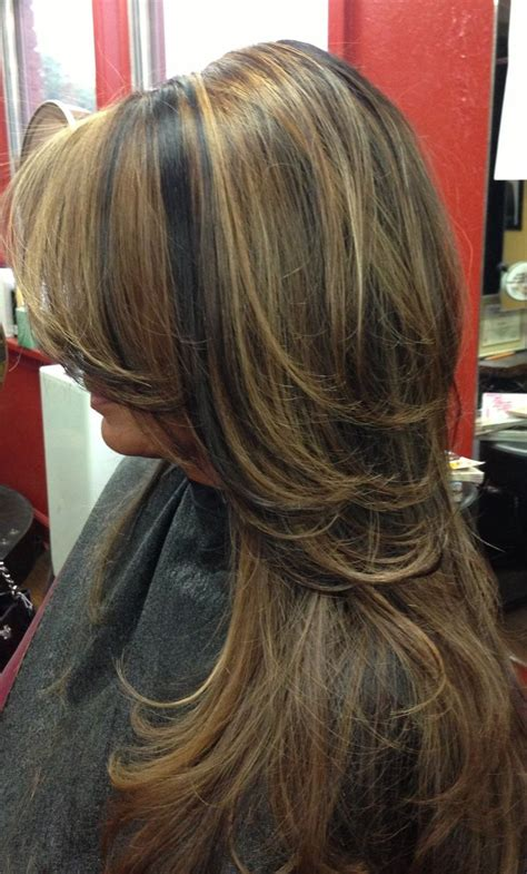 burgandy caramel and brown highlights dark hair with carmel highlights dark hair with caramel
