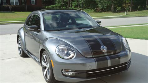 grey volkswagen bug 2012 platinum grey metallic turbo with black gloss stripes