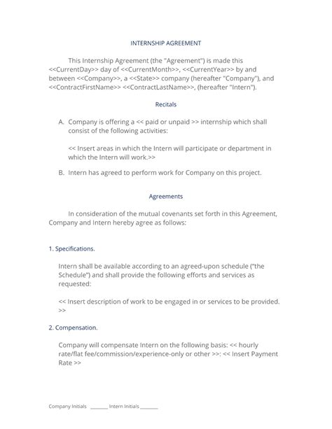 Internship Agreement Technical It Paid Internship Contract Template