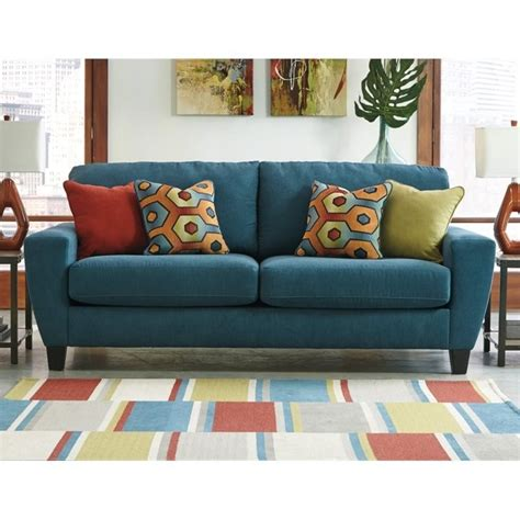 ashley furniture teal sofa ashley sagen fabric sofa in teal 9390238