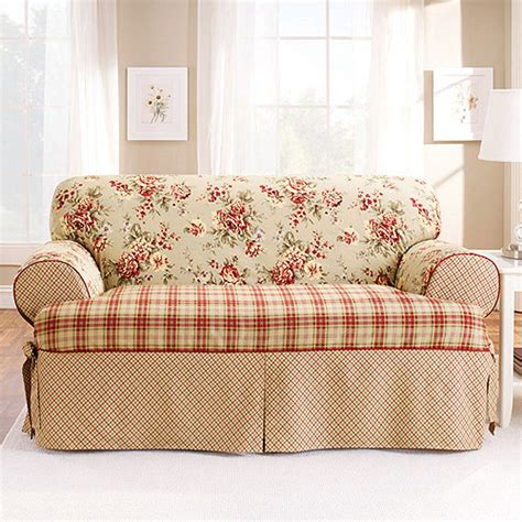 walmart sure fit sofa covers sure fit lexington t cushion loveseat slipcover walmart com