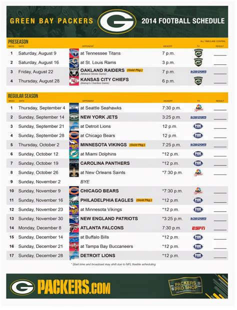 printable schedule for green bay packers green bay packers schedule 2014 printable pdf green bay