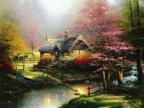Stepping Stone Cottage By Thomas Kinkade Cottages Cottage Paintings By Kinkade