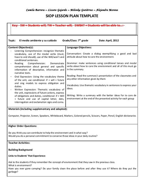 scaffolding lesson plan template siop unit lesson plan template sei model siop esl bil