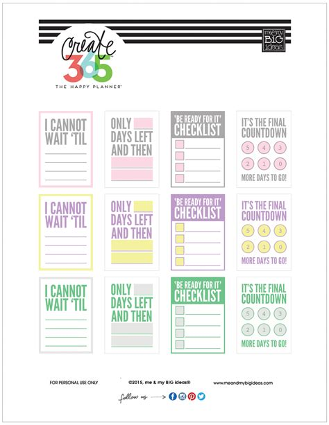 happy planner printable free countdown free printables for the happy planner me