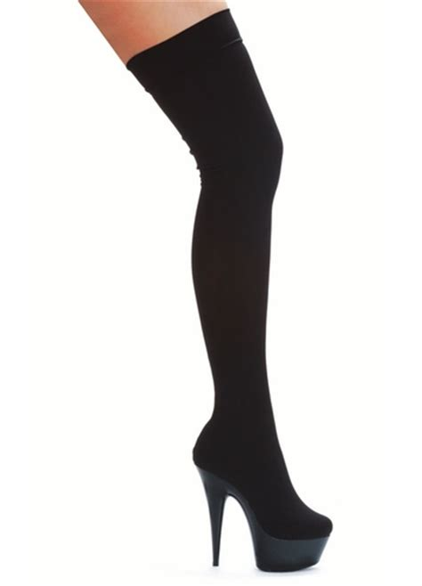 6 quot stiletto heel thigh high boots in lycra